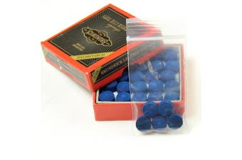5 X 10mm Leather Blue Diamond Snooker Pool Cue Tips - Free Sandpaper