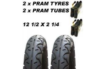 2 x Pram Tyres & 2x Tubes 12 1/2 X 2 1/4 Slick Micralite Mama & Papas 03 Quinny