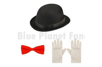 Blue Planet Fancy Dress ® Childrens Kids Victorian Nanny Bowler Hat Bow Tie & Gloves