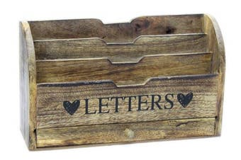 Shabby Chic Wooden Limewashed Letters Letter Rack Mail Holder