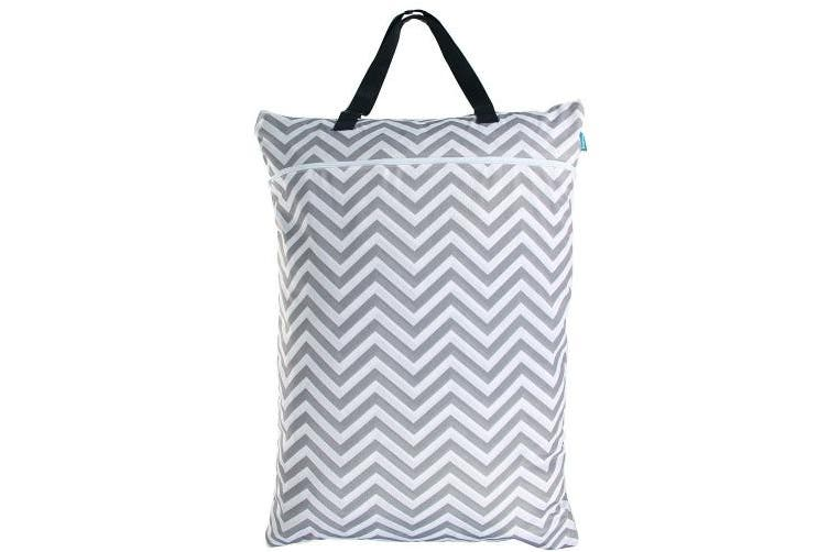 (Large, Gray Chevron) - Teamoy Wet Dry Bag, Travel Tote Organiser (60cm x 46cm ) with Two Compartments for Cloth Nappy, Laundry, Swimsuits and More, Easy to Hang Everywhere