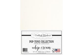 (Whip Cream) - Whip Cream White Cardstock Paper - 22cm x 28cm 45kg. Heavyweight Cover -25 Sheets from Cardstock Warehouse