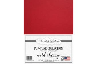 (Wild Cherry) - Wild Cherry RED Cardstock Paper - 22cm x 28cm 45kg. Heavyweight Cover -25 Sheets from Cardstock Warehouse