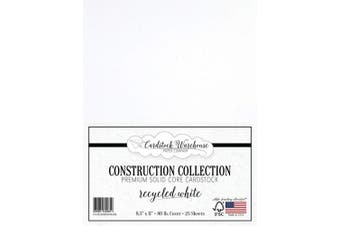(Recycled White) - Recycled White Cardstock Paper - 22cm x 28cm Premium 36kg. Cover - 25 Sheets from Cardstock Warehouse