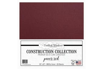 (Paver Red) - Paver RED/Wine/Burgundy Cardstock Paper - 30cm x 30cm Premium 45kg. Cover from - 25 Sheets from Cardstock Warehouse