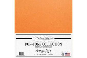(Orange Fizz) - Orange Fizz Cardstock Paper - 30cm x 30cm 45kg. Heavyweight Cover - 25 Sheets from Cardstock Warehouse
