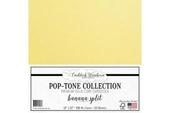 (Banana Split) - Banana Split Yellow Cardstock Paper - 30cm x 30cm 45kg. Heavyweight Cover - 25 Sheets from Cardstock Warehouse