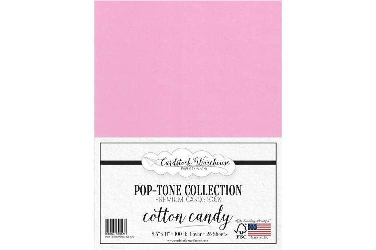 (Cotton Candy) - Cotton Candy Pink Cardstock Paper - 22cm x 28cm 45kg. Heavyweight Cover -25 Sheets from Cardstock Warehouse