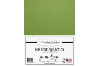 (Gum Drop Green) - Gumdrop Green Cardstock Paper - 22cm x 28cm 45kg. Heavyweight Cover -25 Sheets from Cardstock Warehouse