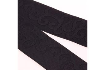 COTOWIN 5.1cm Wide Black Jacquard Elastic Band By 3 Yard, Waistband Elastic, Palace Flower Elastic Trim, Stretchy Elastic Ribbon