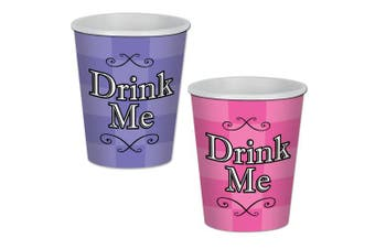 (cups) - Beistle 58182 24 Piece Alice In Wonderland Beverage Cups, 270ml, Purple/Pink/Black/White