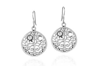 Sunshine and Moon Celtic Swirl Tree of Life .925 Sterling Silver Dangle Earrings