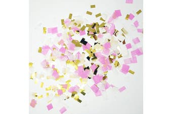 (pink,white,goldmylar) - Premium Shredded Squares Tissue Paper Party Table Confetti - 50 Grammes (Pink, White, Gold Mylar Flakes)