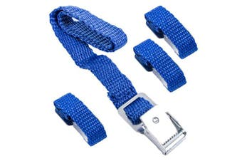Set of 4 Pro Plus Strap for Bicycle Carriers Blue 40 cm Metal Buckles