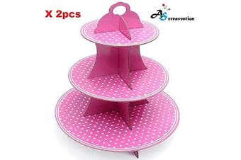 (2, Pink Stand) - A & S Creavention 3 Levels Cardboard Cupcake Stand Holder Tower Display, 2pcs (Pink)