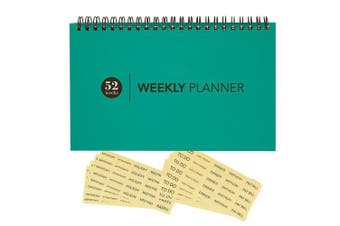 Blank Weekly Calendar Planner - For Home & Office - Undated Wire Bound Desk Pad Planner - 52 Weeks - Teal Blue - Includes Clear Reminder Stickers - 20cm x 13cm
