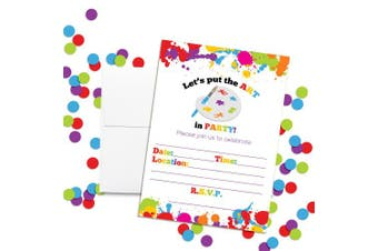 Art Party Paint Splatter Birthday Party Invitations, 20 13cm x 18cm Fill in Cards with Twenty White Envelopes by AmandaCreation