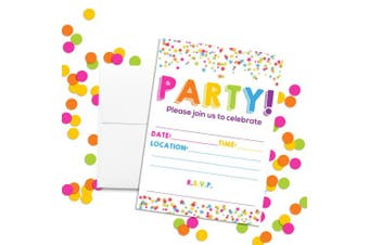 Confetti Star Party Invitations, 20 13cm x 18cm Fill in Cards with Twenty White Envelopes by AmandaCreation