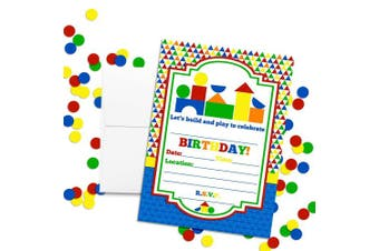 Wood Blocks Preschool Themed Birthday Party Invitations, 20 13cm x 18cm Fill in Cards with Twenty White Envelopes by AmandaCreation
