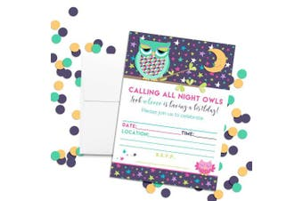 Night Owl Slumber Birthday Party Themed Party Invitations, 20 13cm x 18cm Fill in Cards with Twenty White Envelopes by AmandaCreation