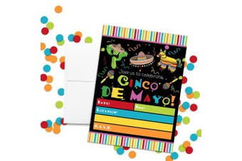 Cinco De Mayo Fiesta Party Celebration Invitations, Ten 13cm x 18cm Fill In Cards with 10 White Envelopes by AmandaCreation