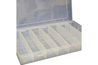 FLADEN Clear (1 to 28 sections) Fishing Terminal Tackle Bits Lure Storage Box - Dimensions 35 x 22 x 5 cm [19-78154]
