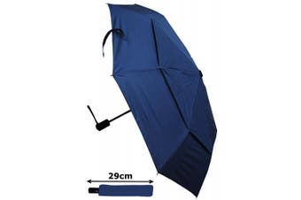 COLLAR AND CUFFS LONDON - Windproof STRONG StormProtector Compact Folding Umbrella - Vented Canopy - HIGHLY ENGINEERED TO COMBAT INVERSION DAMAGE - Automatic Open Close - Small - Travel - Navy Blue