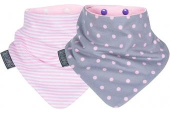 (pink, Polka Pink / Cool Pink) - Cheeky Chompers Neckerbibs - Absorbent Bandana Bibs Twin Pack - Dot's & Stripes Design