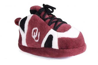 (Oklahoma Sooners) - Happy Feet Baby Slippers - up to 9 Months - Officially Licenced
