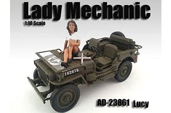 LADY MECHANIC LUCY FIGURE 1:18 SCALE DIECAST MODEL CARS AMERICAN DIORAMA 23861