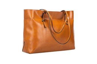 (Brown) - S-ZONE Women's Vintage Genuine Leather Tote Shoulder Bag Handbag