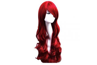 (red) - Red Curly Wig Women's Long Curly Wigs Cosplay Party Wig with Wig Cap(dark red)
