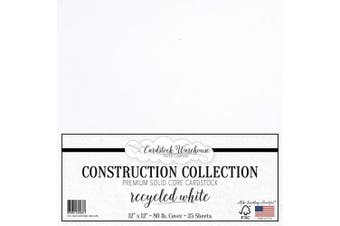 (Recycled White) - Recycled White Cardstock Paper - 30cm x 30cm Premium 36kg. Cover from - 25 Sheets from Cardstock Warehouse
