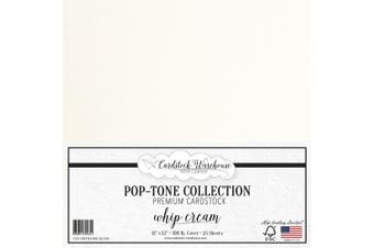(Whip Cream) - Whip Cream White Cardstock Paper - 30cm x 30cm 45kg. Heavyweight Cover - 25 Sheets from Cardstock Warehouse