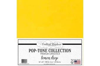 (Lemon Drop) - Lemon Drop Yellow Cardstock Paper - 30cm x 30cm 45kg. Heavyweight Cover - 25 Sheets from Cardstock Warehouse
