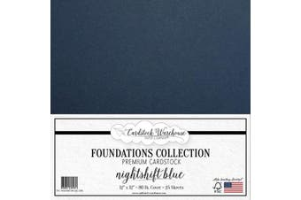 (Nightshift Blue) - Nightshift Blue/Dark Blue Cardstock Paper - 30cm x 30cm Premium 36kg. Cover from - 25 Sheets from Cardstock Warehouse