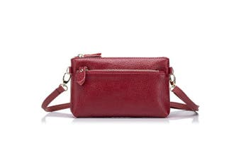 (Red) - Aladin Small Leather Crossbody Bag / Wristlet Purse 2 In 1 Handbag for Women Teen Girls