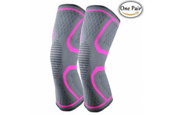 (Large, Pink) - CFR Athletics Knee Compression Sleeves Support Running, Jogging, Sports, Joint Pain Relief, Arthritis and Injury Recovery Thigh Wrap - ONE PAIR KNEEPAD