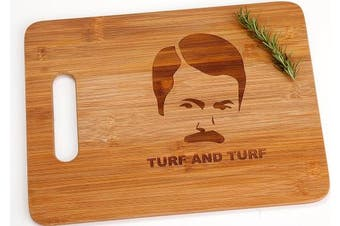 Ron Swanson Turf and Turf Funny Parks and Recreation Engraved Bamboo Cutting Board with Handle Parks and Recreation Gift