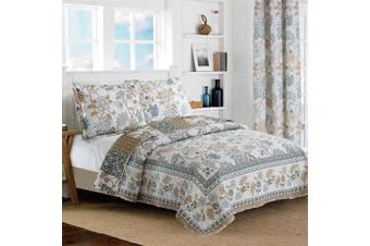 (Full/Queen Size, Blue & White) - All American Collection New Reversible 3pc Floral Printed Blue/White Bedspread/Quilt Set (Queen Size)