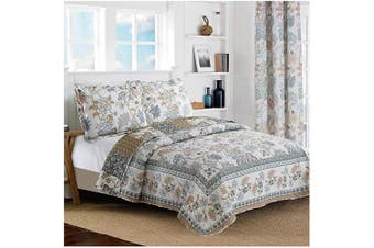 (King / Cal King Size, Blue & White) - All American Collection New Reversible 3pc Floral Printed Blue/White Bedspread/Quilt Set (King / Cal.King Size)
