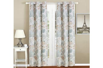(Panel, Blue & White) - All American Collection New 4pc Floral Printed Blue/White Curtain Set (Curtain Set)