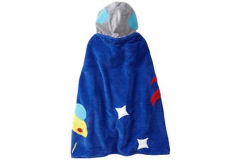 (Small, Blue) - Kidorable Space Hero All-Cotton Hooded Blue Towel for Boys w/Fun Astronaut Helmet, Rocket