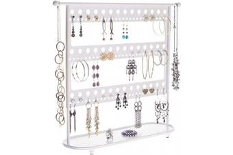 (Laela 16.25x17.5 X-Large, White) - Earring Holder Stand Jewellery Organiser Display Tree & Necklace Storage Rack & Tray, Laela White