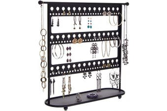 (Laela 16.25x17.5 X-Large, Black) - Earring Holder Stand Jewellery Organiser Tree Necklace Display Storage Rack with Tray, Laela Black