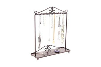 (Rubbed Bronze) - Necklace Holder Stand Jewellery Tree Organiser Storage Rack Bracelet Display w/Tray, Calla Rubbed Bronze