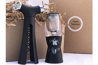 (Happy Birthday) - Happy Birthday Wine Accessories Gift Set- Includes Best Wine Aerator and 4 in 1 Wine Opener- comes in Attractive Gift Box with Occasion Label (Happy Birthday)