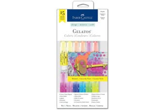 (Brights) - Faber-Castell Gelatos Colours Set, Brights - Water Soluble Pigment Crayons - 15 Bright Colours