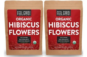 Organic Hibiscus Flowers - Cut & Sifted - 2x 470ml Reselable Bags (950ml / 0.9kg Total) - 100% Raw From Egypt - by Feel Good Organics