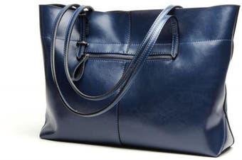 (Blue-cross) - Covelin Women's Handbag Genuine Leather Tote Shoulder Bags Soft Hot